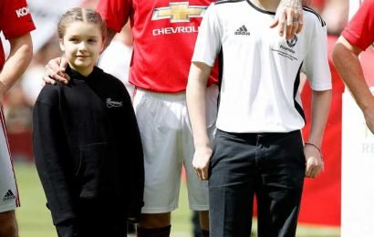 David Beckham's Daughter Harper, 7, and Son Romeo, 16, Cheer Him on During Charity Soccer Game