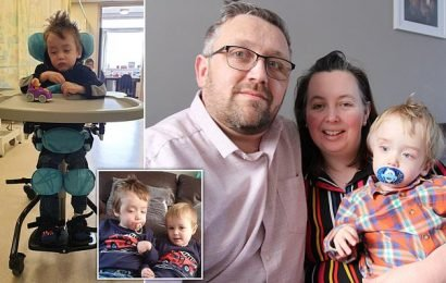 Boy, one of UK's youngest stroke victims, stands up for the first time