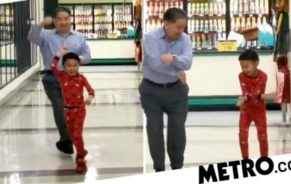 Five-year-old boy takes granddad to a supermarket to dance a day before surgery