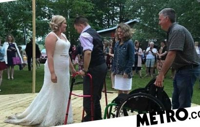 Man paralysed after diving into pool stands up to dance at best friend's wedding