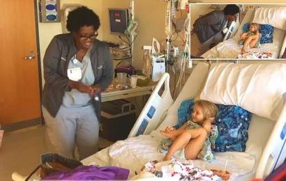 Nurse dances the 'Jingle Bell Rock' for 3-year-old leukemia patient